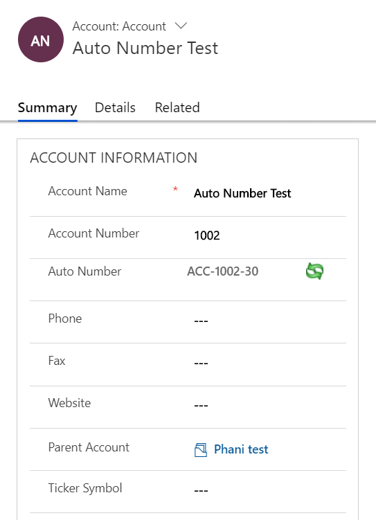 Auto Number Control