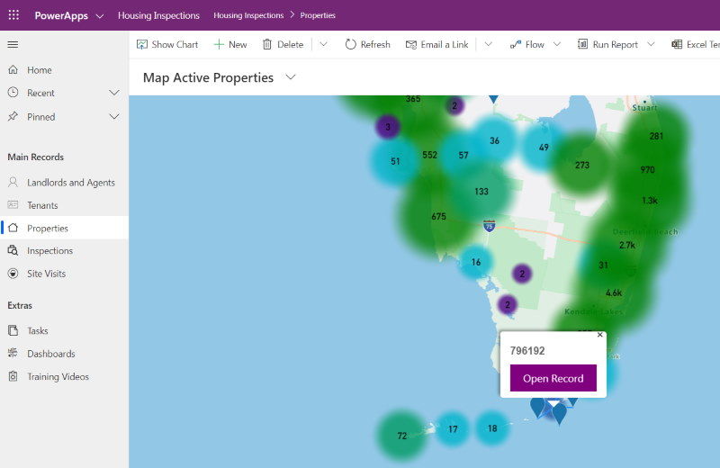 Azure Maps Cluster Spider