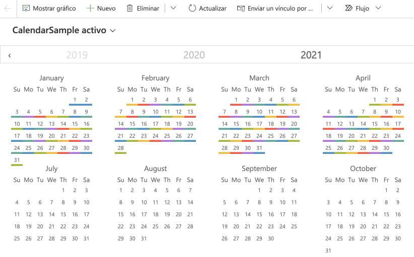 Year Calendar Control